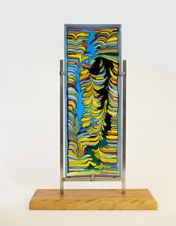 """""""Coned Colors,"""" combed fused glass by Rod Baker. - Uploaded by Le Brane"""