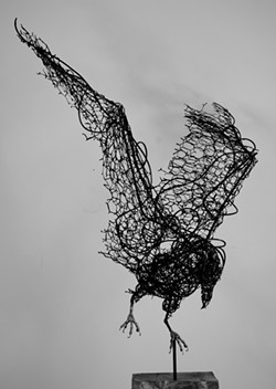 """Central Coast Sculptor Mike Hannon's """"Wire Raven"""" - Uploaded by Le Brane"""