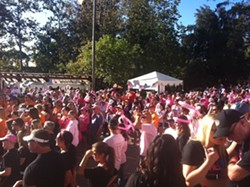 PHOTO COURTESY OF CALIFORNIA DIVISION OF THE AMERICAN CANCER SOCIETY, INC. - THEY LIKE BOOBS!:  Last year's Making Strides Against Breast Cancer 5K walk drew hundreds to the SLO Mission Plaza, and organizers are expecting an even bigger crowd on Oct. 26. Join the fun!