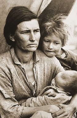 "PHOTO BY GLEN STARKEY - GREAT DEPRESSION:  Farm Security Administration photographer Dorothea Lange captured her famous image ""Migrant Mother"" in Nipomo in March of 1936, bringing a human face to migrant farmworker suffering."