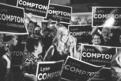 STRAIGHT OUTTA COMPTON:  The newest SLO County supervisor, Lynn Compton, beat out incumbent Caren Ray for the District 4 seat. - FILE PHOTO BY HENRY BRUINGTON