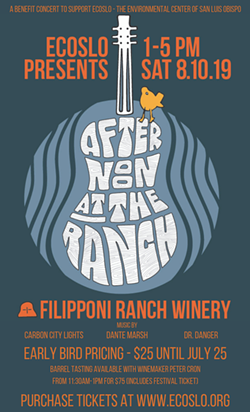 Join ECOSLO at the Filipponi Ranch Winery as we celebrate summertime and enjoy an Afternoon at the Ranch! Come out on Saturday, August 10 from 1pm-5pm to listen to good music, dance with friends, enjoy wine & food, and support your local environmental center. All ages welcome! - Uploaded by Zac Pfeifer
