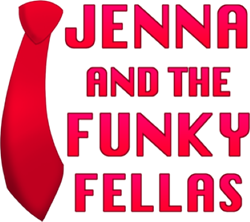 Red logo of Jenna & the Funky Fellas lettering and tie. - Uploaded by St. Benedict's Church