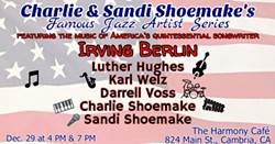 The music of America's quintessential songwriter, Irving Berlin, will be featured at the Dec. 29th Famous Jazz Artist Series performance. - Uploaded by Sheri H