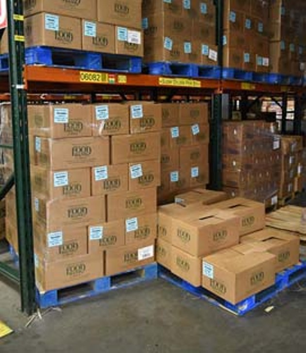 Boxed food donations in the warehouse at Regional Food Bank of Oklahoma.  mh