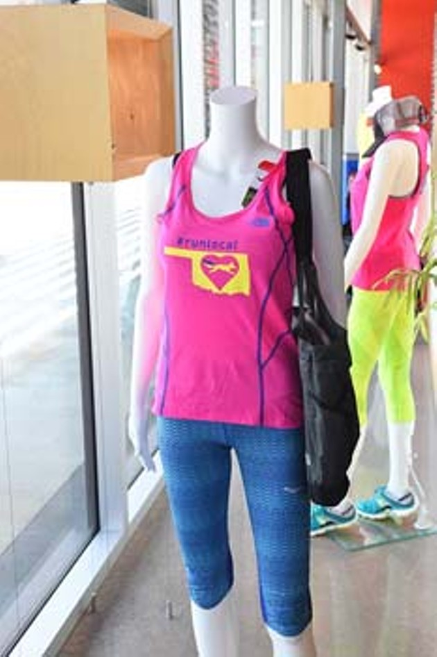 """Mannequin decked out to """"run"""" back to school at Red Coyote on the Classen Curve.  mh"""