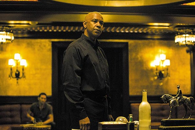 McCall (DENZEL WASHINGTON) talks to Slavi in Columbia Pictures' THE EQUALIZER. - SCOTT GARFIELD