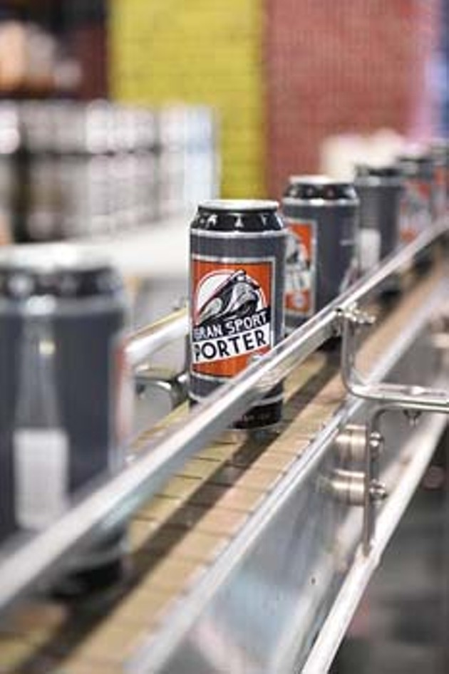 Gran Sport Porter coming down the assembly line at Coop Ale Works.  mh