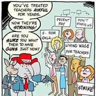 Cartoon: Striking teachers with guns