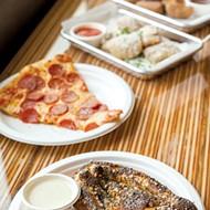 Banquet Cinema Pub's poppy seed and onion pretzel, pepperoni pizza