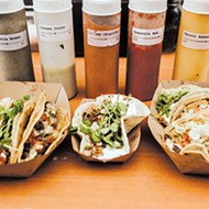 Tacos from Taco Nation feature microgreens from a local farm and fish from Edmond.