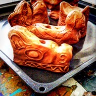 Clay sculpture pieces drying
