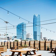 Angry Scotsman Brewing's expansive patio offers beautiful views of downtown Oklahoma City.