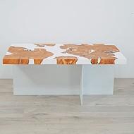 Epoxy and wood coffee table