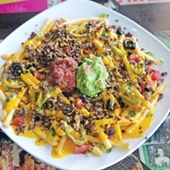 Impossible fries with taco-seasoned crumbles