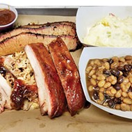Brisket, pulled pork and ribs with potato salad and baked beans