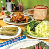 Lao sausage is pork mixed with garlic, lemongrass and other flavors before being stuffed in casings and deep-fried.