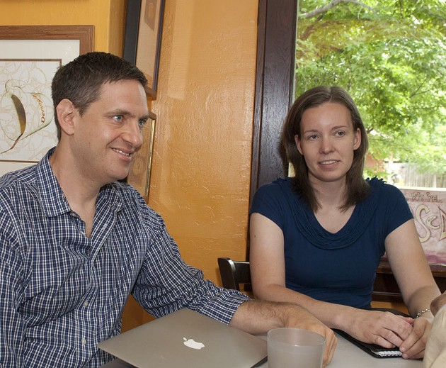 Marc Solomon, Freedom to Marry, and Amanda Snipes, community outreach director, Freedom Oklahoma, meet with Troy Stevenson, not pictured, at The Red Cup, 7-14-14..  mh