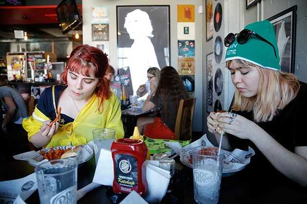 Kelli Mayo and Peyton Bighorse stop in for a bite to eat at S&B's Burger Joint before a day out in the city and talking about their upcoming Skating Polly album The Big Fit. - GARETT FISBECK