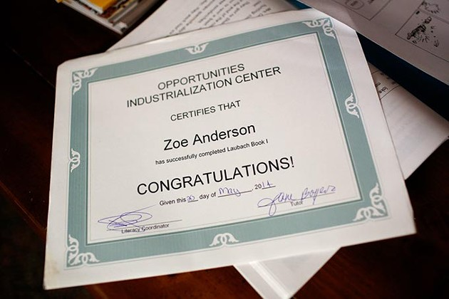 Zoe Anderson's certifificate for successfully finishing the first book in the program at Opportunities Industrialization Center, in Oklahoma City, Wednesday, Aug. 26, 2015. - GARETT FISBECK