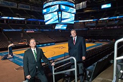Left, Thomas Thomas Anderson and Tim Linville inside the Chesapeake Energy Arena.  mh