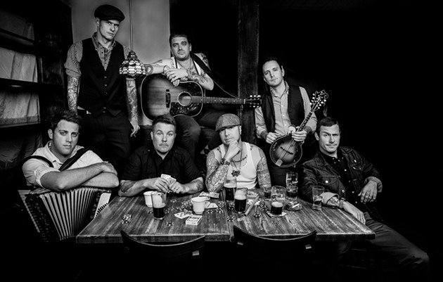 "The Dropkick Murphys - clockwise from left: Tim Brennan, Al Barr, James Lynch, Jeff DaRosa, Matt Kelley, Josh ""Scruffy"" Wallace and Ken Casey."