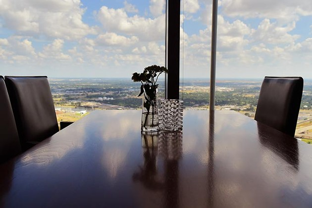 Table view from Vast, 333 west Sheridan Avenue, at the top of the Devon Tower in Downtown Oklahoma City, 9-4-15. - MARK HANCOCK