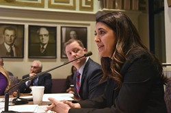 Senator Stephanie Bice, vice chair, discusses her alcohol bill, SB383, with Senator Dan Newberry, chair, during the committee hearing on business and commerce, at the State Capitol Thursday.  mh