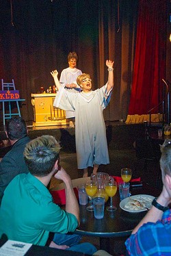 """""""Kitty"""" Bob Aimes, interacts with crowd during a drag show performance for the Sunday Gospel Brunch, Sundays at Noon and 1:30 at The Boom.  mh"""