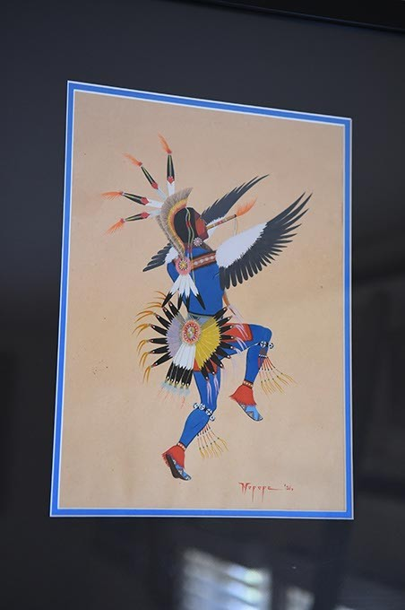 """Kiowa Eagle Dance"" by orginal Kiowa Six artist Stephen Mopope at Jacobson House Native Art Center in Norman. (Mark Hancock)"
