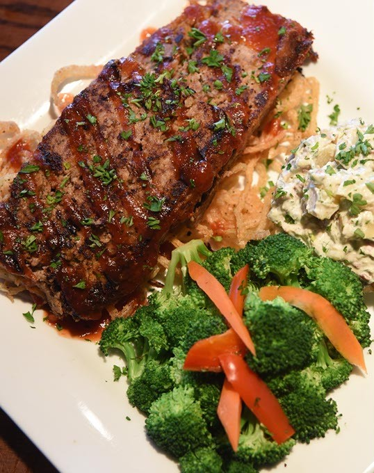 The Bricktown Brewery has this great looking meatloaf with broccali and potato salad.  mh
