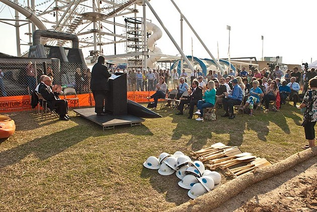 Groundbreaking ceremonies for the newly named River Sport Rapids along the Oklahoma River's Sky Trails in the Boathouse Districe, Monday, 10-20-2014.  mh