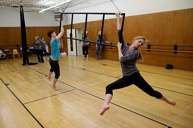 Dancers with the Perpetual Motion dance group rehearse at Oklahoma Contemporary in Oklahoma City, Monday, Jan. 5, 2015. - GARETT FISBECK