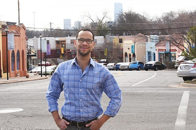 James Cooper who is running for the Ward 2 City Council seat, shown in Ward 2 at the north end of The Paseo.  mh