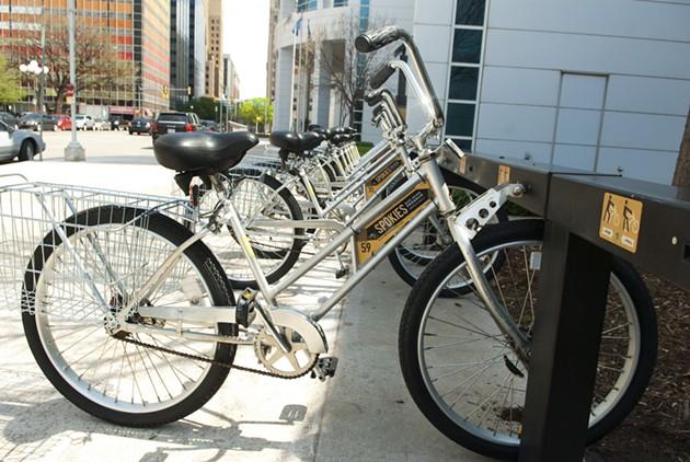 Spokies bike station at the Ronald J. Norick Downtown Library. - MARK HANCOCK