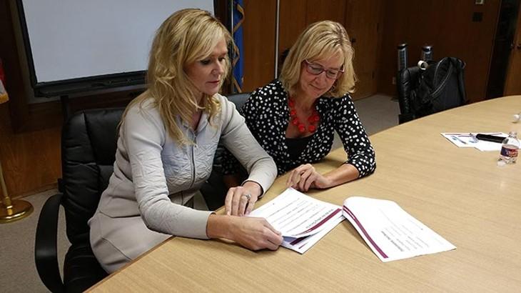 Cutline: Joanne McEachen and Jane Davidson with The Learner First were in Oklahoma City last week to speak with principals about their work. - BEN FELDER
