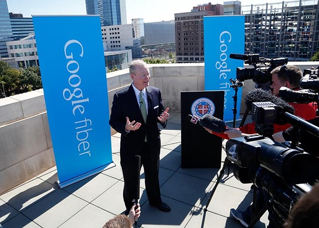 Mayor Mike Cornett answers questions during a press conference to announce Oklahoma City as a potential Google Fiber city at the Oklahoma City Museum of Art, Wednesday, Oct. 28, 2015. - GARETT FISBECK