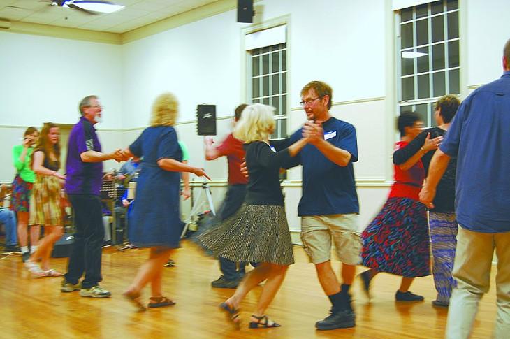 Contra dancers at First Unitarian Church of Oklahoma City. - Photo by Angela Botzer - ANGELA BOTZER