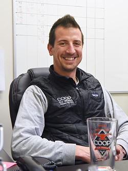Blake Jarolim, brewmaster at Coop Ale Works, in his office at the southwest Oklahoma City plant, 2-10-16. - MARK HANCOCK