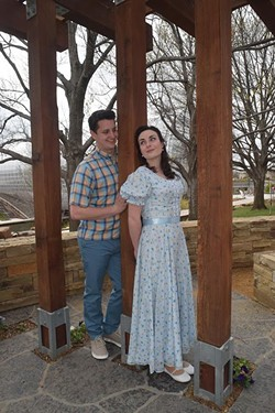 """Nate Stukey as """"Matt"""", and Arden Walker as """"Luisa"""" in this promotional shot for the Lyric Theatre production of """"The Fantastics"""", photographed at the Myriad Botanical Gardens, 3-11-16. - MARK HANCOCK / FOR THE GAZETTE"""