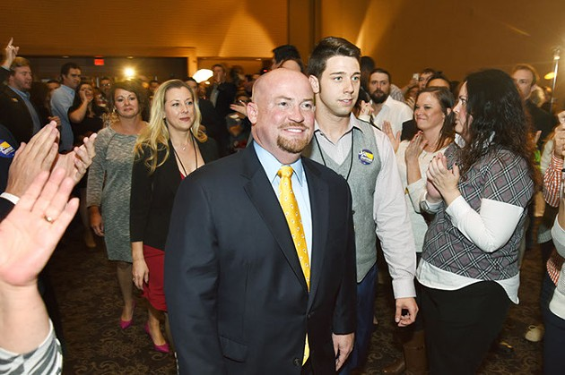 Gubernatorial candidate Joe Dorman, finaly arrives to his watch party after a long wait by his supporters, Tuesday, 11-4-14, in the Cox Center in Downtown OKC.  mh