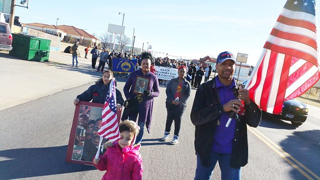 A few hundred participated in a march to honor the legacy of Martin Luther King Jr. along 23rd Street on Jan. 19, 2015. - BEN FELDER