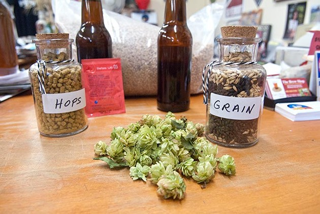 The stuff of great brewing: hops, Grains, Bottles, and yeast at The Brew Shop. (Mark Hancock)