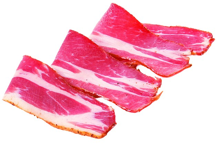 sliced pork bacon isolated on white background - BIGSTOCK