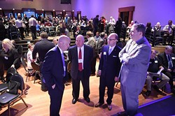 From left, Dr. Mickey Hepner, UCO, State Auditor Gary Jones, State Representitive Scott Inman, and State Senator Clark Jolley, talk in front of the stage before the start of the Annual State Budget Summit held at the Will Rogers Center, 1-28-16. - MARK HANCOCK