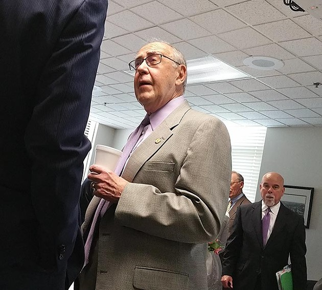 Councilman Pat Ryan at his retirement party prior to a city council meeting last week. - BEN FELDER