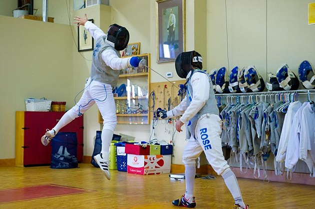 Associate and assistants George Adams(left) and Chris Rose demonstrate some bouting techniques at Oklahoma Sport Fencing. - SHANNONCORNMAN