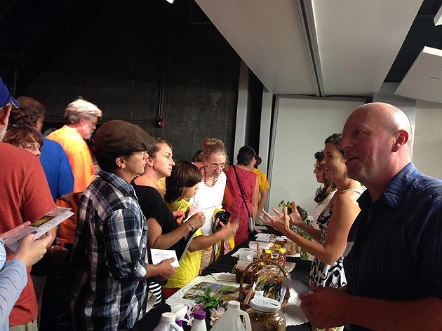 Guests mingle at Urban Ag's first film night. (Provided)