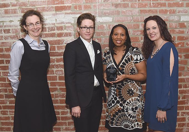 From left, Kate Brady, Kristin Culver, Shannon Welch, and Meagan Carter who won best public initiative for Open Streets OKC. - MARK HANCOCK