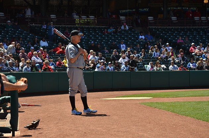 Mark Harmon prepares to bat at a charity baseball game in 2011 in Oklahoma City. - Photo provided